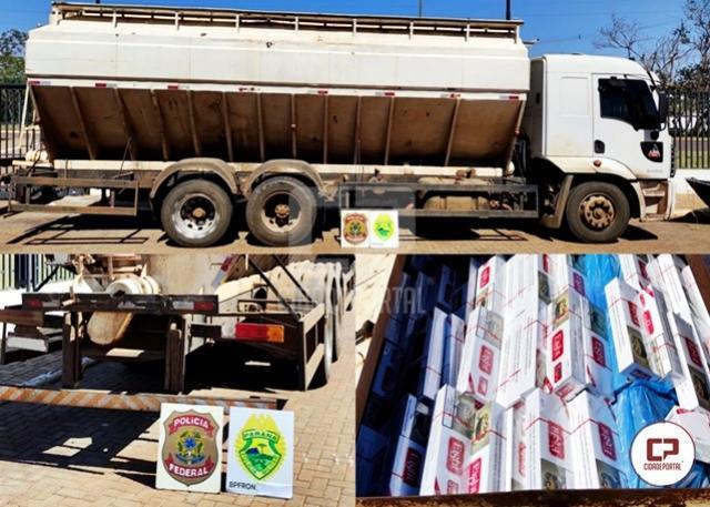 PF e BPFRON apreendem caminhão carregado com cigarros contrabandeados em Mercedes