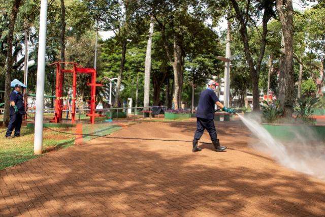 Coronavírus: Município de Toledo segue desinfetando os espaços públicos