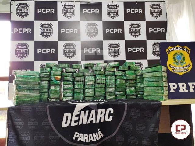 Denarc de Cascavel e PRF apreendem mais de 100 kg de pasta base de cocaína