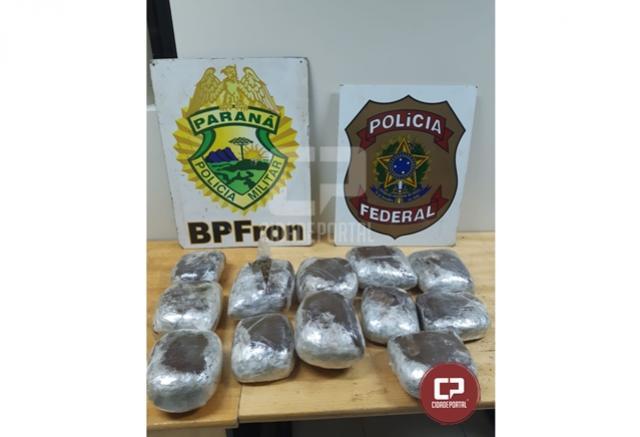 BPFron e Polícia Federal apreendem drogas em ônibus durante Operação Hórus em Céu Azul