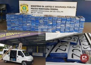 PRF apreende 254 quilos de cocaína em fundo falso no teto de uma van em Céu Azul
