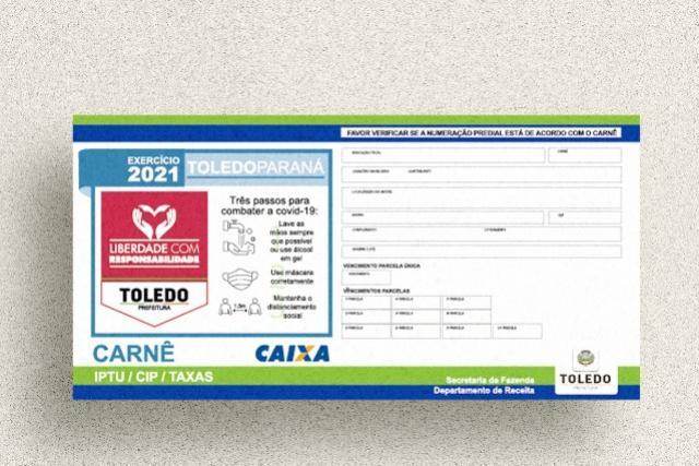 Prefeitura de Toledo prorroga prazos para pagamento do IPTU 2021