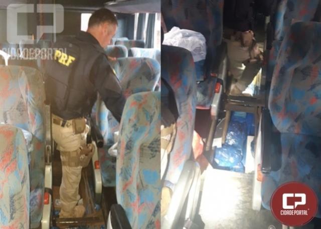 PRF apreende ônibus transportando eletrônicos em fundo falso em São Miguel do Iguaçu