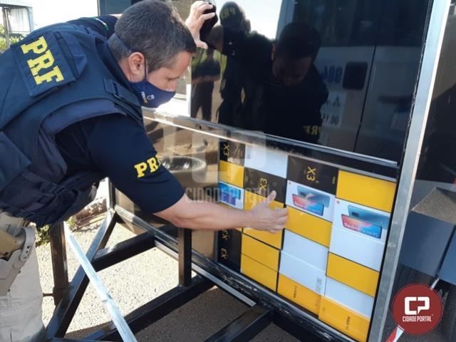 PRF encontra celulares em fundo falso de reboque na cidade de Santa Terezinha de Itaipu
