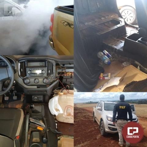 PRF recupera em Guaraniaçu duas caminhonetes roubadas, ambas com lançador de fumaça