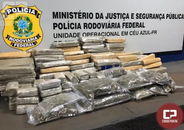 Drogas transportadas em veículo roubado são apreendidas pela PRF em Céu Azul