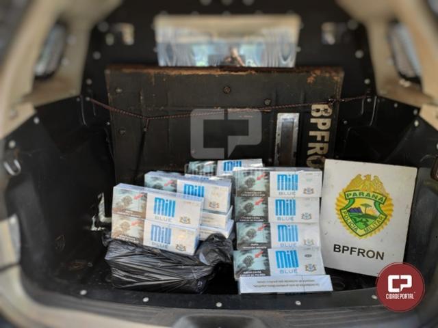 BPFron aprende cigarros contrabandeados em ônibus durante Operação Hórus em São Miguel do Iguaçu