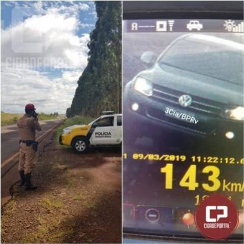 15 motoristas foram flagrados acima da velocidade pela PRE no município de Cascavel