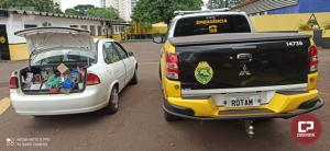 Equipe ROTAM da 3ª Cia de Cascavel apreende veículo carregado com mercadorias em Boa Vista da Aparecida