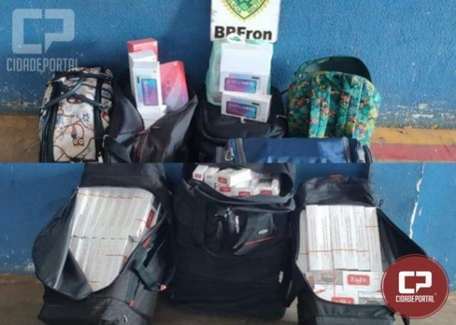 BPFRON apreende produtos contrabandeados em abordagens a ônibus