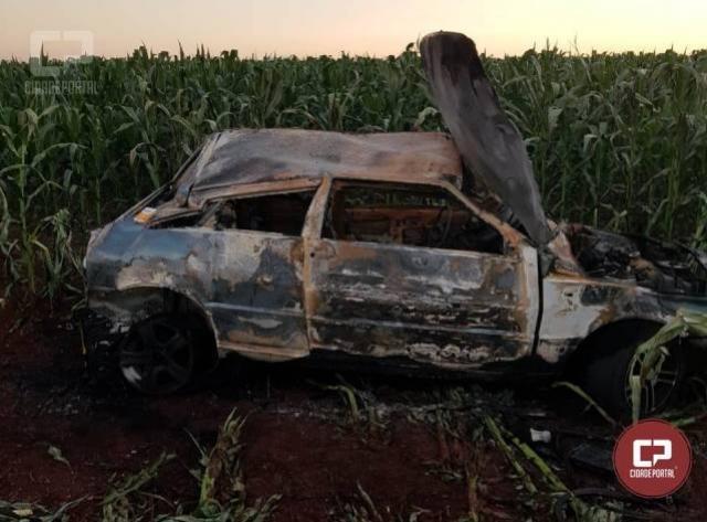 Capotamento seguido de incêndio deixa condutora ferida em acidente no município de Marechal Cândido Rondon
