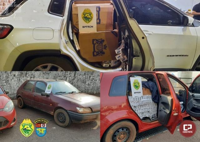 BPFron apreende veículos carregados com cigarros contrabandeados em Nova Santa Rosa