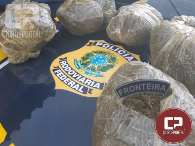 PRF encontra droga em mochila de passageiro de ônibus em Santa Terezinha de Itaipu
