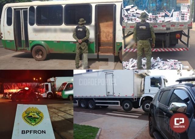BPFron apreende caminhões e micro-ônibus carregados com cigarros contrabandeados em Entre Rios do Oeste