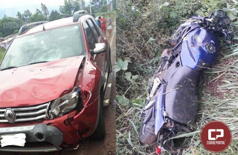 Motociclista fica ferido após acidente na PR-495, região de Santa Helena