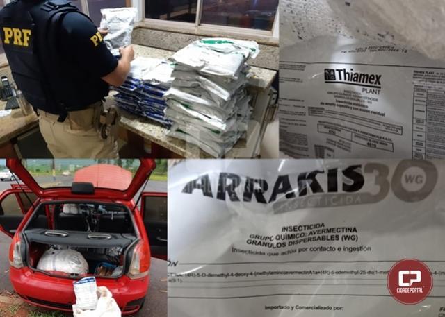 PRF apreende 39 kg de substância agrotóxica em veículo paraguaio na cidade de São Miguel do Iguaçu