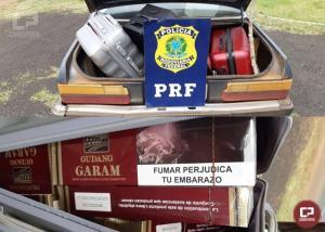 PRF apreende veículo carregado com grande quantidade de cigarros contrabandeados em Matelândia