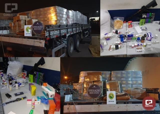 BPFRON e Receita Federal apreendem dois Caminhões carregados de mercadorias ilegais em Cascavel