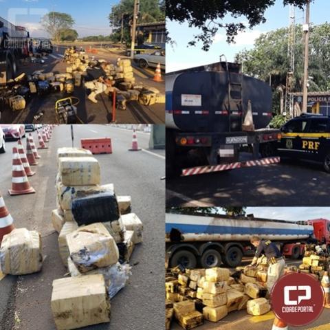 PRF apreende 2,8 toneladas de maconha em caminhão-tanque na cidade de Santa Terezinha