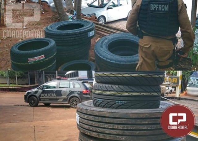 BPFRON apreende pneus contrabandeados em Foz do Iguaçu durante Operação Hórus