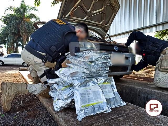 PRF flagra veículo paraguaio transportando agrotóxico em fundo falso na cidade de Santa Teresinha do Itaipu