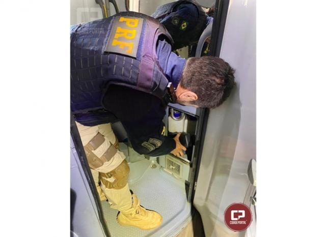 PRF apreende maconha escondida em lixeira de ônibus no município de Santa Terezinha de Itaipu