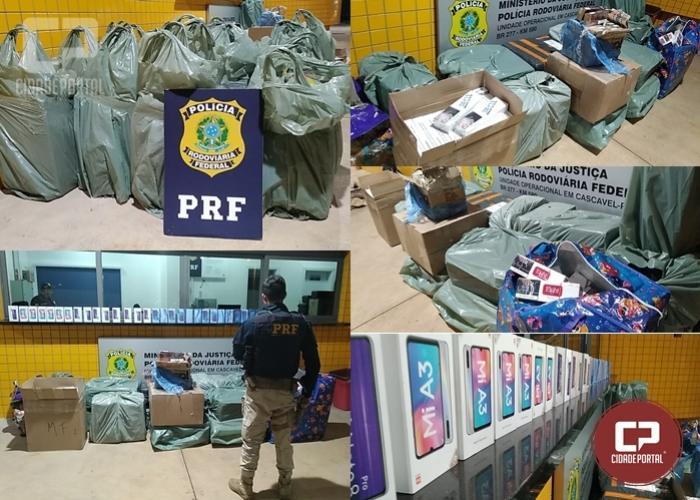 PRF de Cascavel apreende ônibus com drogas, cigarros e celulares na BR-277