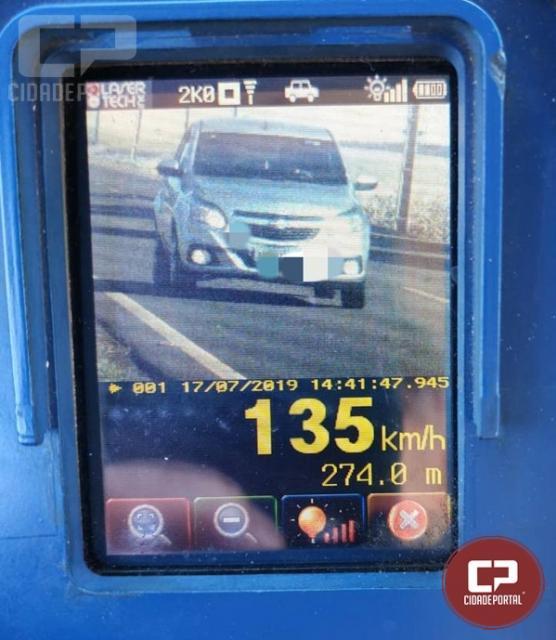 PRE autua 35 motoristas por excesso de velocidade em Cascavel