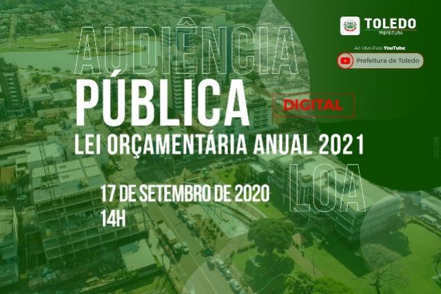 Toledo fará audiência pública digital sobre Lei Orçamentária Anual 2021