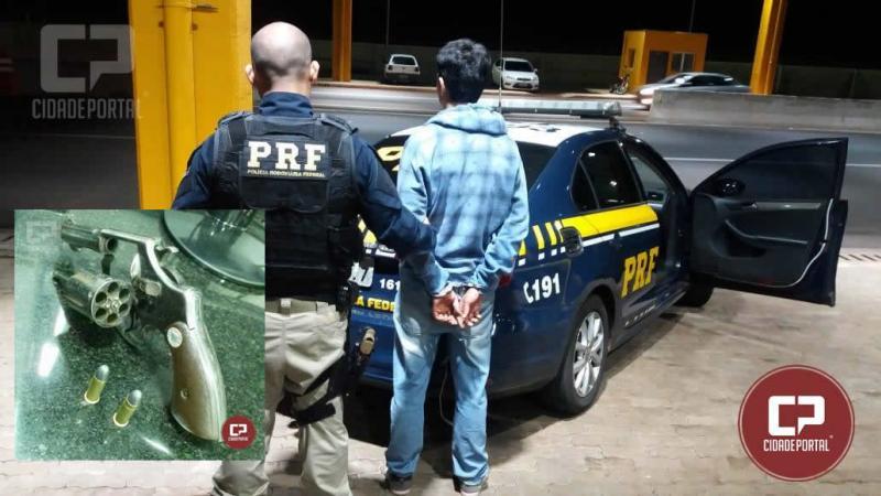 Jovem com moto de Corbélia foi detido pela PRF de Cascavel com arma de fogo