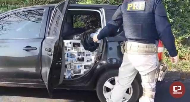 PRF encontra veículo lotado de cigarros contrabandeados próximo á BR-277