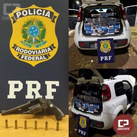 PRF encontra arma em veículo carregado com cigarros contrabandeados no município de Santa Terezinha