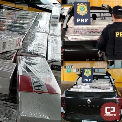 PRF de Cascavel apreende veículo carregado com cigarros contrabandeados