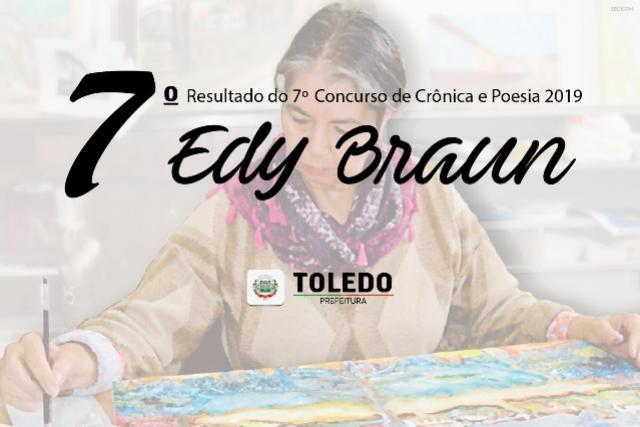 Resultado do 7º Concurso de Crônica e Poesia EDY BRAUN /2019 em Toledo