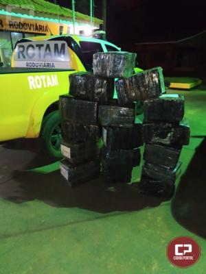 ROTAM da PRE de Cascavel apreende veículo carregado com  271 kg de maconha em Palotina