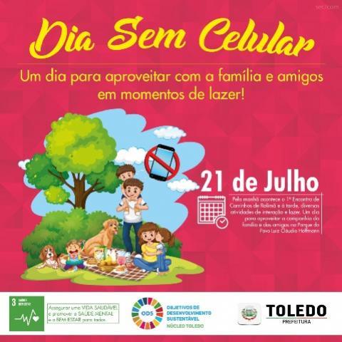 Dia Sem Celular pretende promover o bem-estar da população de Toledo