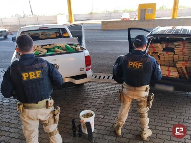 PRF apreende mais de uma tonelada de maconha, skunk e mil munições de fuzil em Cascavel