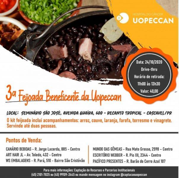 3ª Feijoada beneficente da Uopeccan de Cascavel será neste sábado, 24