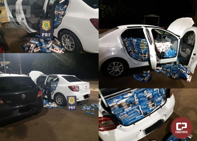PRF apreende veículo carregado com cigarros contrabandeados em Santa Terezinha