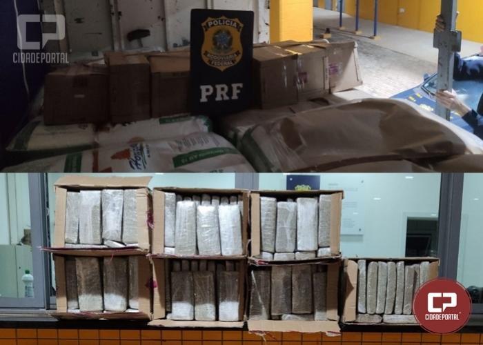 PRF aborda caminhão e encontra 131 quilos de maconha em Cascavel