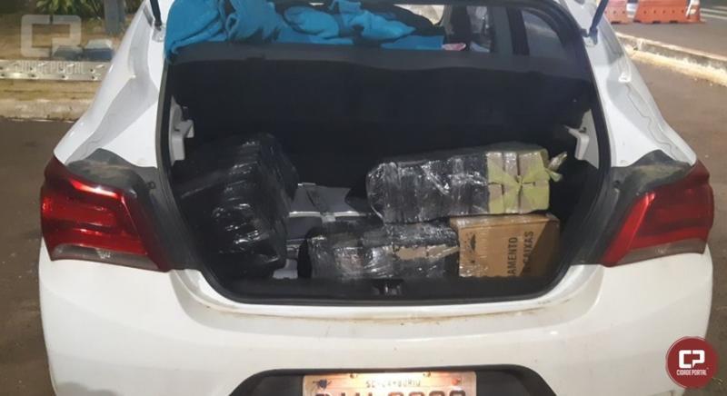 PRF encontra 87 kg de maconha em porta malas de veículo na cidade de Santa Terezinha