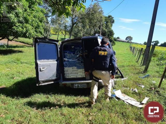 PRF apreende veículo carregado com cigarros após 19 km de perseguição
