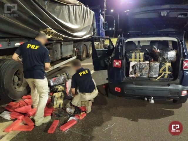 PRF apreende grande quantidade de maconha em caminhão carregado com arroz em Santa Terezinha de Itaipu