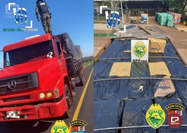 BPFron apreende caminhão carregado com quase 20 mil pacotes de cigarros contrabandeados em Santa Helena