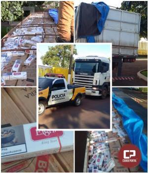 Polícia Rodoviária Estadual de Santa Helena apreende carreta com 600 caixas de cigarro