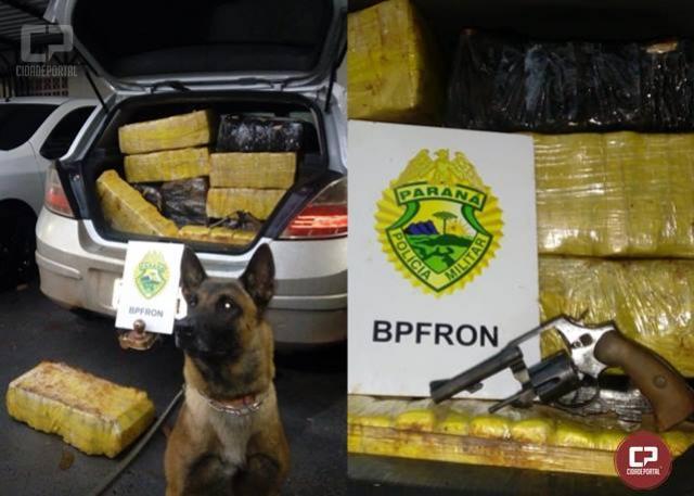 BPFRON apreende maconha, arma e munições em veículo durante Operação Hórus em Toledo