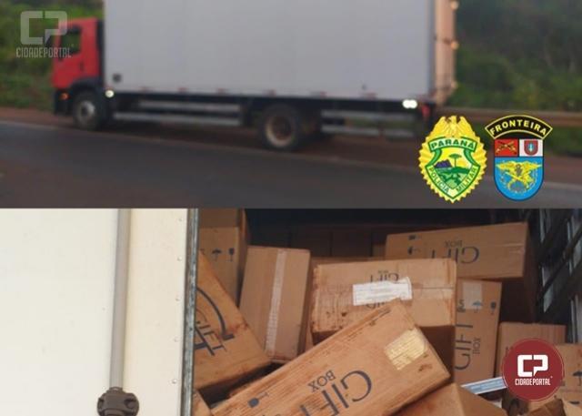 BPFron apreende caminhão com cigarros contrabandeados em Toledo durante Operação Sinergia