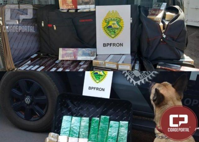 BPFRON apreende droga e contrabando após abordagens a ônibus em Toledo