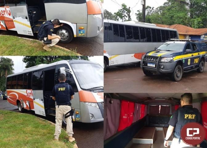 Após denúncia anônima, PRF recupera ônibus furtado em Marechal Cândido Rondon