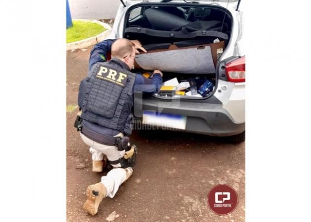 PRF prende casal pelo descaminho de diversos celulares vindos do Paraguai em Céu Azul